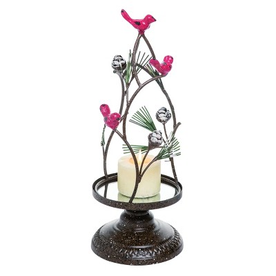 Transpac Metal 16 in. Silver Christmas Cardinal Tree Candle Holder