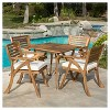 Hermosa 5pc Acacia Wood Patio Dining Set with Cushions - Teak Finish - Christopher Knight Home - image 3 of 4