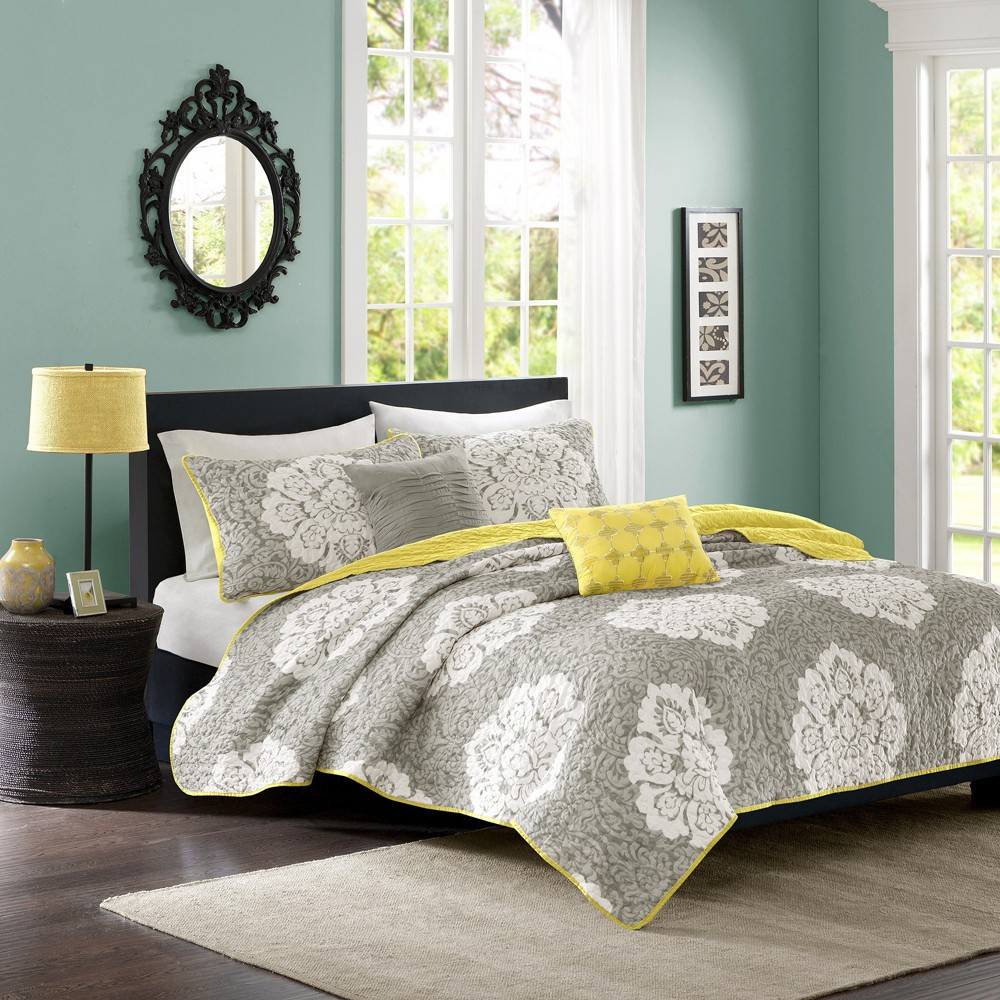 Gray Becca Printed Quilt Set (King/California King) 5pc