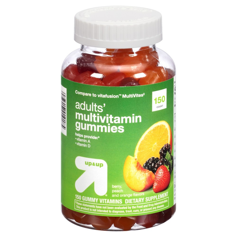 Multivitamin Gummies - Berry, Peach & Orange - 150ct - Up&Up Supplement your healthy diet and lifestyle with these Multivitamin Gummies from up and up. Providing both vitamins A and D, these multivitamin gummies come in tasty berry, peach and orange flavors — they're a great alternative to hard-to-swallow pills or tablets. Size: 150 Count. Gender: Unisex. Age Group: Adult.