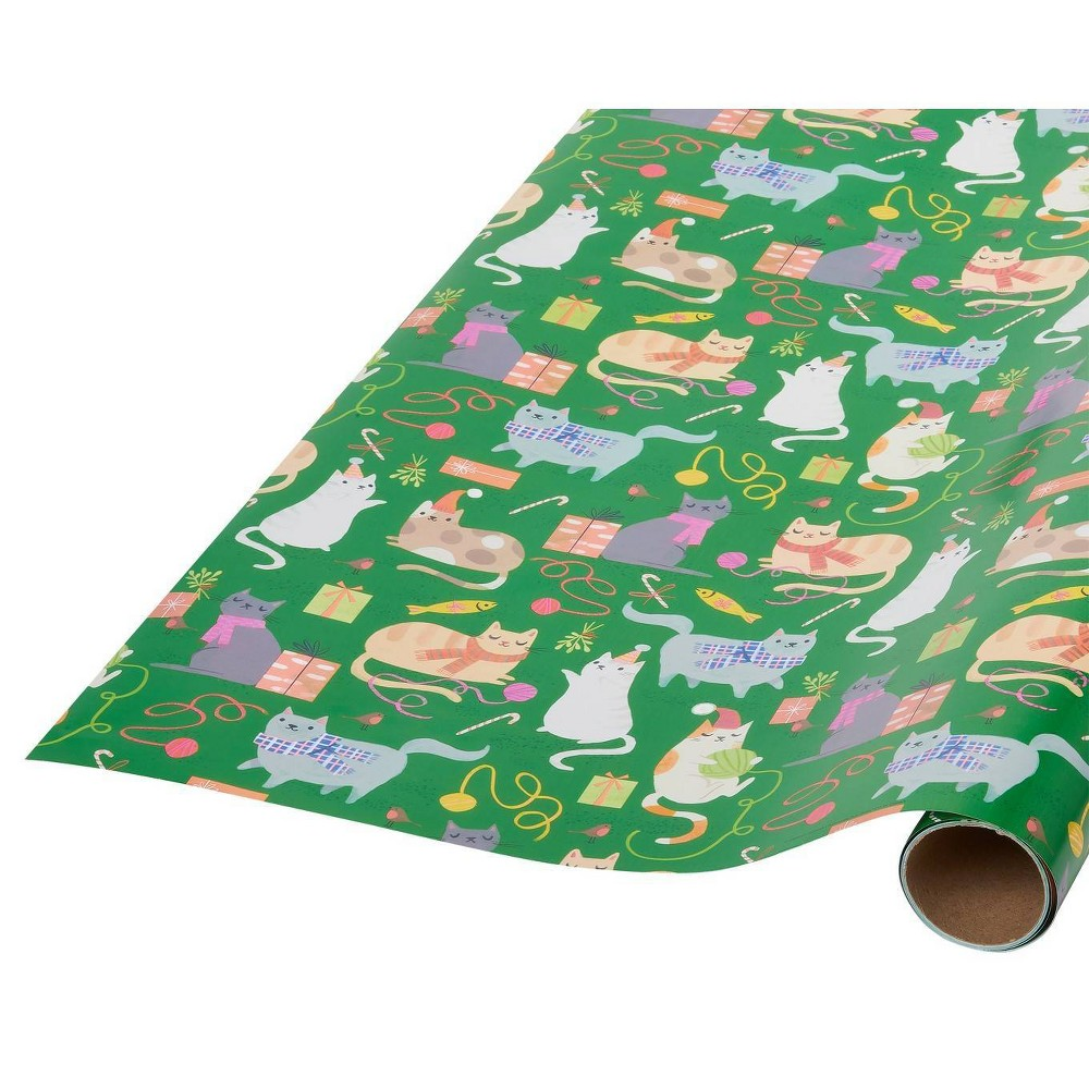 """Image of """"30"""""""" x 9ft Papyrus Christmas Playful Cats Gift Wrap"""""""