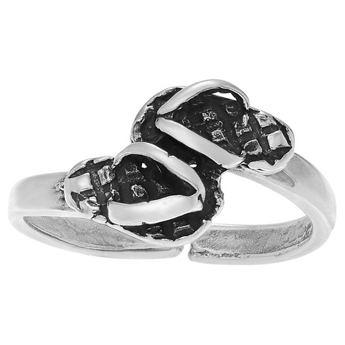 Women's Journee Collection Adjustable Flip Flops Toe Ring in Sterling Silver - Silver - image 1 of 3