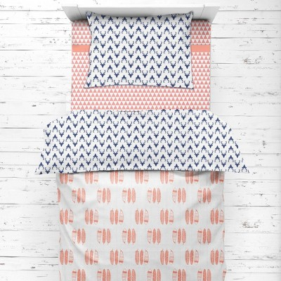 Bacati - Olivia Coral/Navy Buck/Feathers/Triangles Muslin 4 pc Toddler Bedding Set