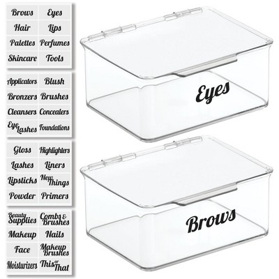 mDesign Stackable Plastic Bath Storage Organizer Box, 2 Pack + 32 Labels