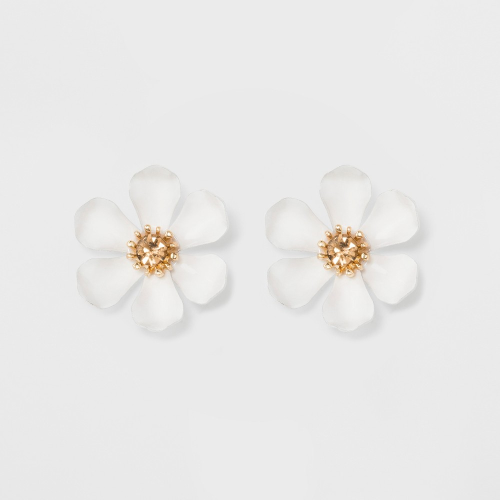 Image of Flower Button Earrings - A New Day White/Gold