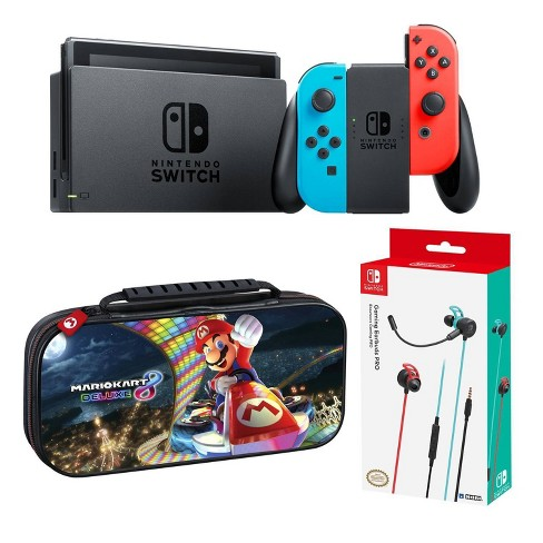 Nintendo Switch On The Go Bundle With Mario Kart 8 Case Gaming Earbuds Pro