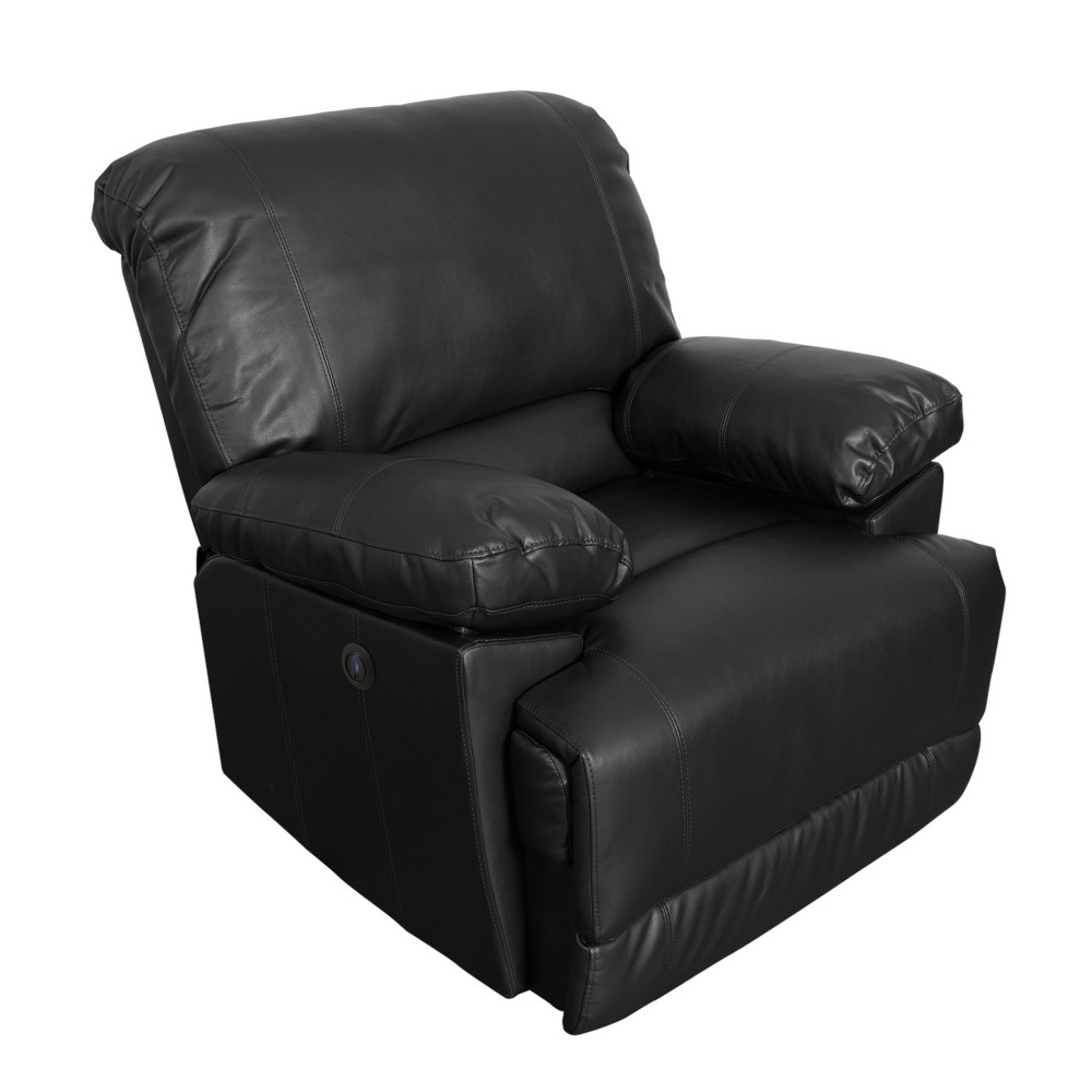 Leather Power Recliner with Usb Port Black - CorLiving