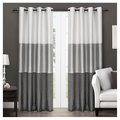 Set of 2 / Pair Chateau Striped Faux Silk Grommet Top Window Curtain Panels Black Pearl (54 x96 )Exclusive Home
