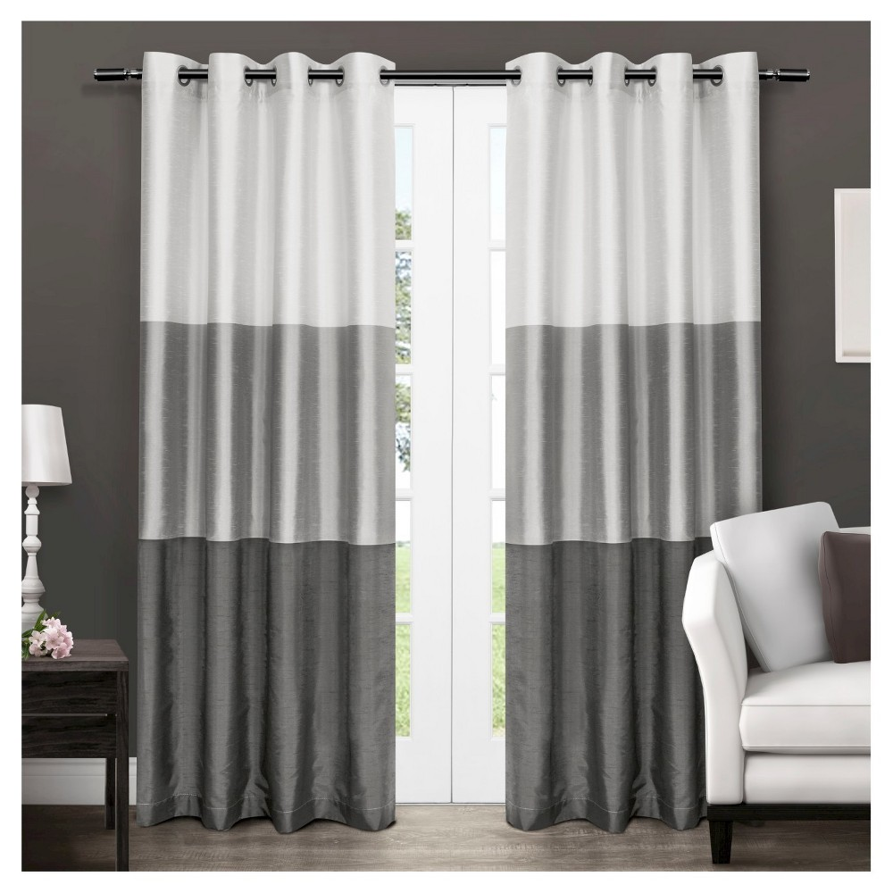 Set Of 2 108 34 X54 34 Chateau Striped Faux Silk Grommet Top Window Curtain Panel Dark Gray Exclusive Home