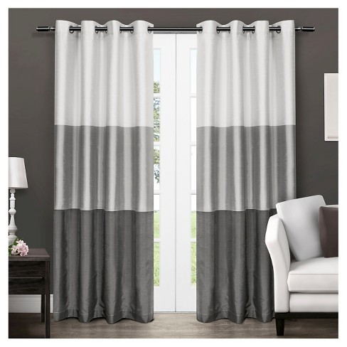 Set Of 2 Cau Striped Faux Silk Grommet Top Window Curtain Panels Exclusive Home