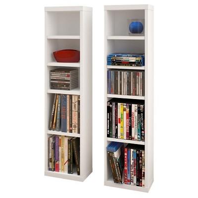 Liber-T CD/DVD Storage Tower White and Walnut (Set of 2)38  - Nexera