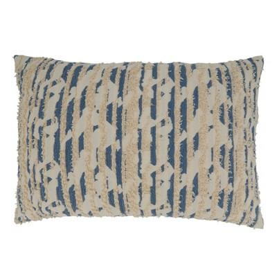 "16""x24"" Oversized Poly-Filled Textured and Printed Lumbar Throw Pillow Blue - Saro Lifestyle"