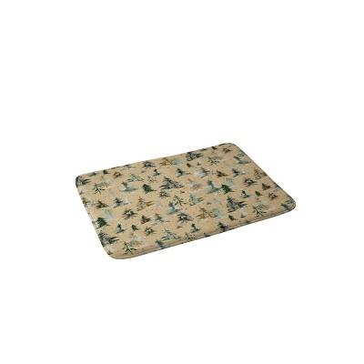 Ninola Design Watercolor Pine Spruces Christmas Memory Foam Bath Mat - Deny Designs