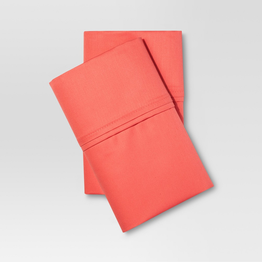Image of Standard 400 Thread Count Performance Solid Pillowcase Set (Standard) Coral - Threshold