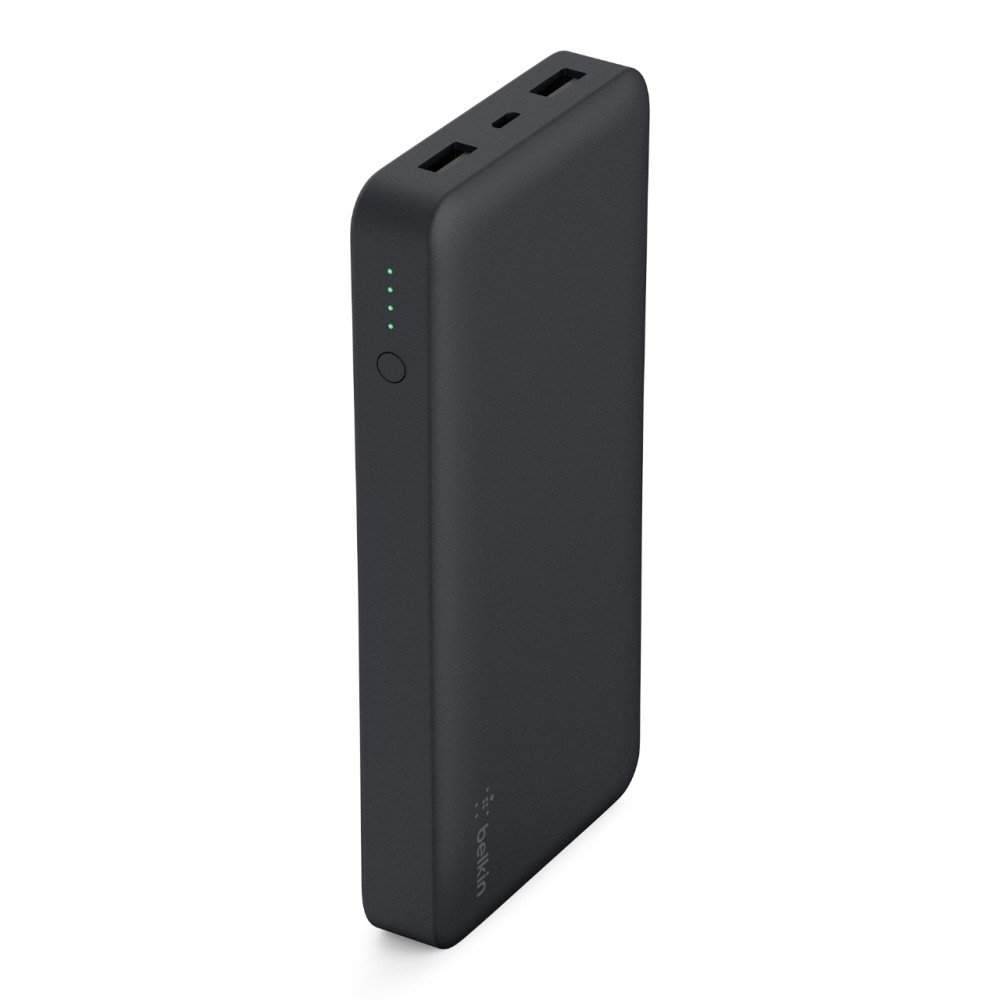 Belkin - Jet Black 15000 Charger Stay charged anywhere with a slim and lightweight power bank (aka portable charger) that fits easily into your pocket or bag. 15,000 mAh recharges a smartphone up to 5 times, placing the Pocket Power 15K ahead of its class as one of the most powerful portable batteries available. Two universal Usb-A ports deliver up to 3.4A of total power to quickly and safely charge devices like smartwatches, fitness bands, headphones, speakers and more. A 5V 2.0A input allows the power bank to recharge quickly between uses, so you can keep moving. 15,000 mAh can recharge a state-of-the-art smartphone up to 5 times, providing an additional 57 hours of call time or 50 hours of web browsing. Don't worry about finding an outlet or staying on the grid with a power bank that will keep you charged for days on end. 2 universal Usb-A ports deliver a total of 5V 3.4A output so you can charge your devices in no time, just use the cable provided to begin charging. Recharge between uses quickly with 5V 2.0A input via a micro-Usb port. Simply connect to a wall charger or other power supply using the Micro-Usb cable provided to recharge your power bank. Color: Black.
