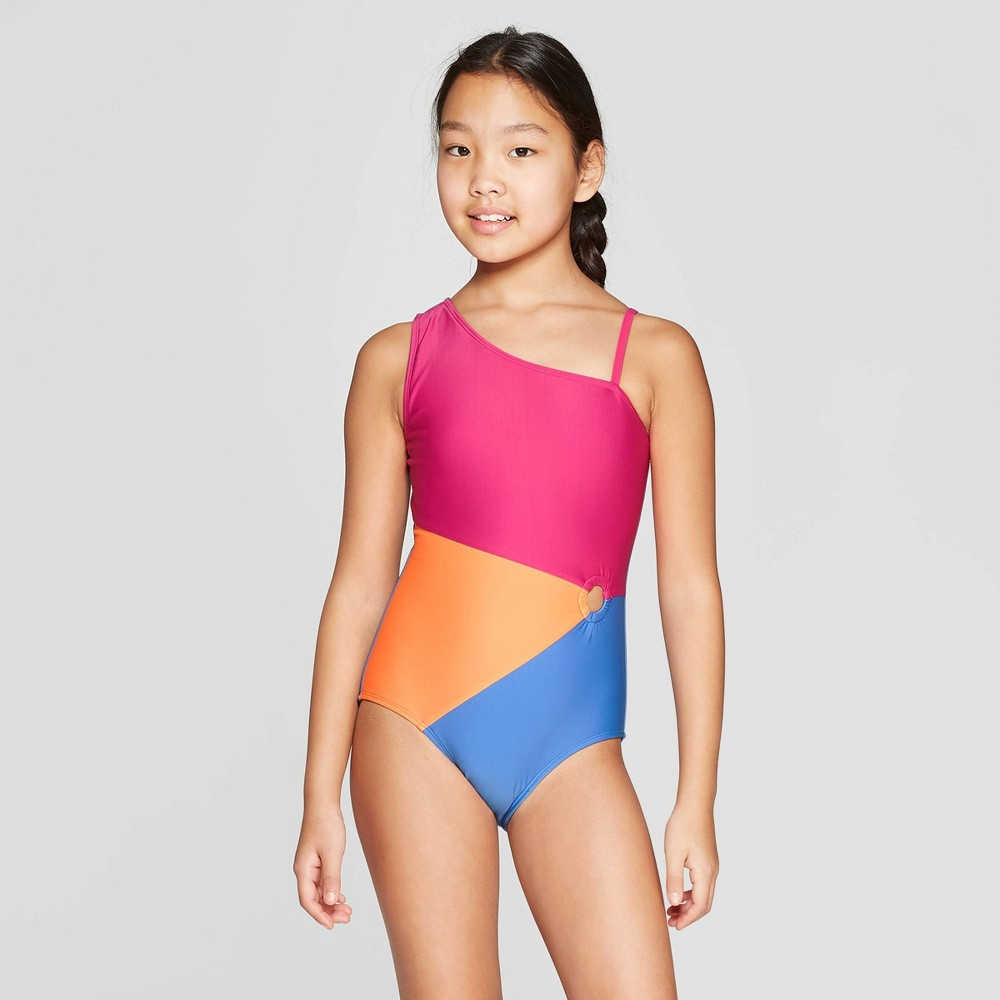 Girls' Colored Rays One Piece Swimsuit - art class Dark Pink L, Multicolored