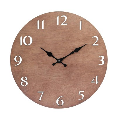 """14"""" Round Natural Wood Wall Clock with Cutout Numbers Brown - Stonebriar Collection"""