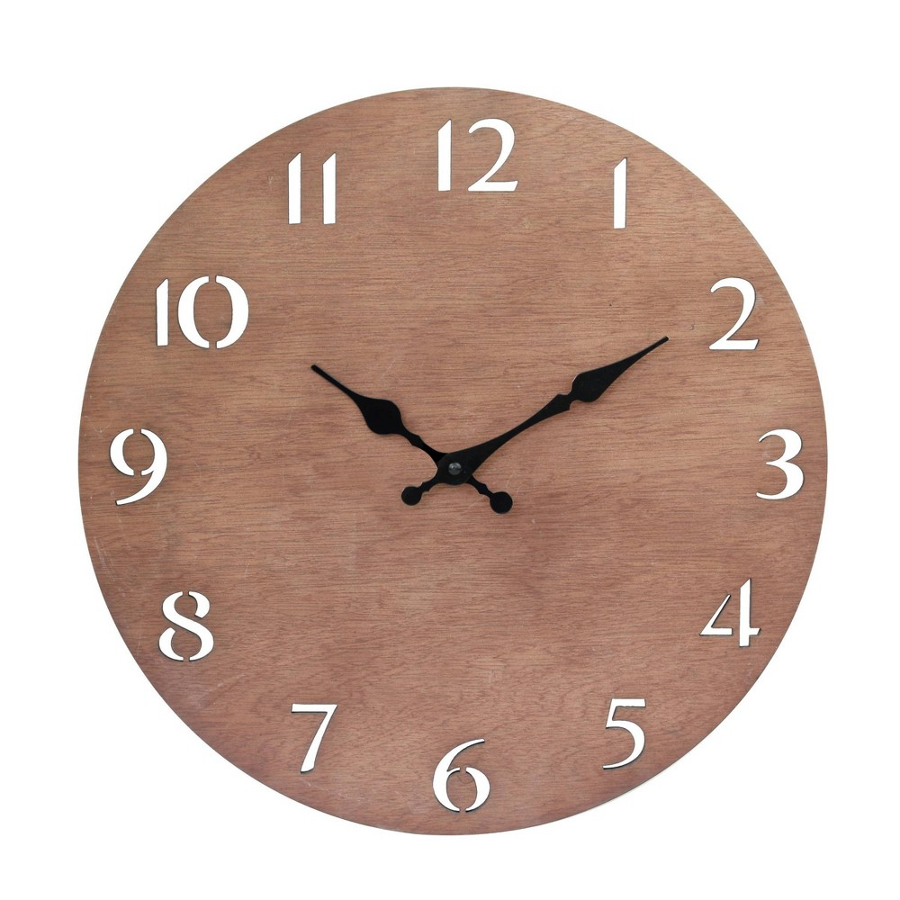 """Image of """"14"""""""" Round Natural Wood Wall Clock with Cutout Numbers Brown - Stonebriar Collection"""""""