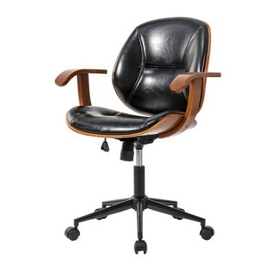 "33"" Leatherette Height Adjustable Swivel Desk Chair Black - Glitzhome"