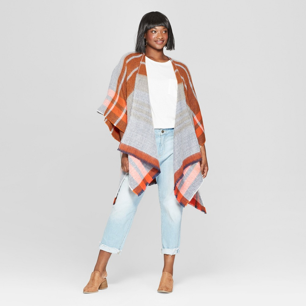 Women's Plus Size Woven Plaid Poncho Sweater - Universal Thread Rust (Red) One Size Plus