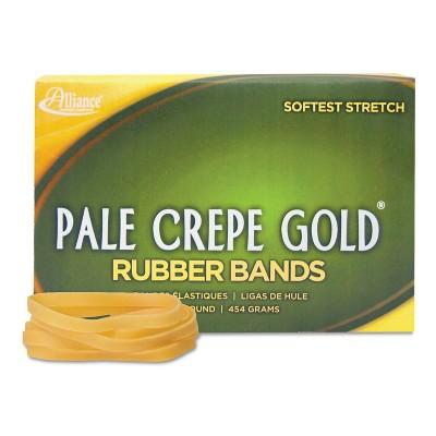 Alliance Pale Crepe Gold Rubber Bands, Size 64, 3-1/2 x 1/4, 1lb Box