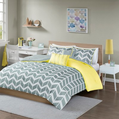 Gray/Yellow Darcy Comforter Set Chevron Full/Queen 5pc