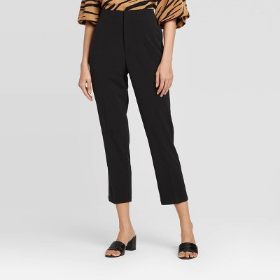 Women's Mid-Rise Straight Leg Cropped Tailored Skinny Pants - Who What Wear™ Black