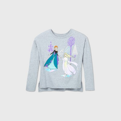 Girls' Disney Frozen Sisters Graphic T-Shirt - Gray - Disney Store