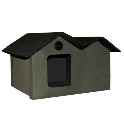 K&H Pet Products 3973 Extra Wide Outdoor Water Resistant Heated Kitty House with 2 Door Flaps Safe Escape For Feral and Outdoor Cats, Olive