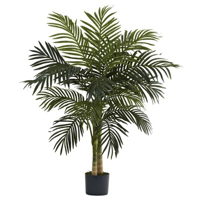 """48"""" Artificial Cane Palm Tree in Pot Black Gold - Nearly Natural"""