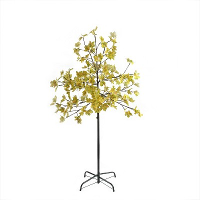 Northlight 5' Pre-Lit LED Lighted Fall Harvest Yellow Maple Leaf Artificial Tree - White Lights