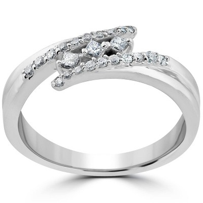 Pompeii3 1/5 ct Princess Cut Diamond 3 Stone Engagement Anniversary Ring 10k White Gold