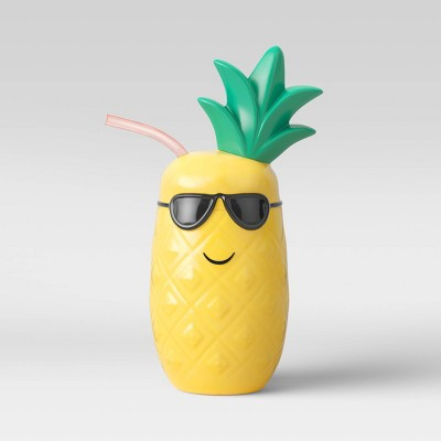 17oz Plastic Pineapple Tumbler with Straw Yellow - Sun Squad™