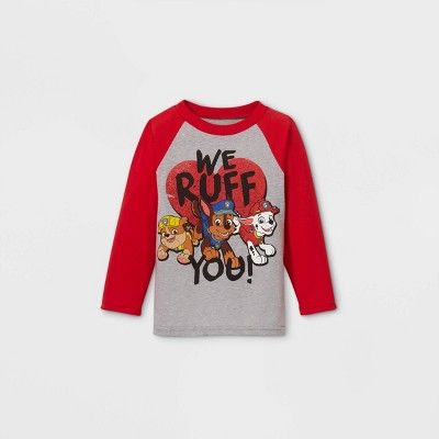 Toddler Boys' PAW Patrol 'We Ruff You' Valentine's Day Long Sleeve Graphic T-Shirt - Red