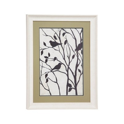"17.5"" x 23.5"" Rectangular Band Bird Illustration Print in White Frame with Olive Green Mat Board - Olivia & May"