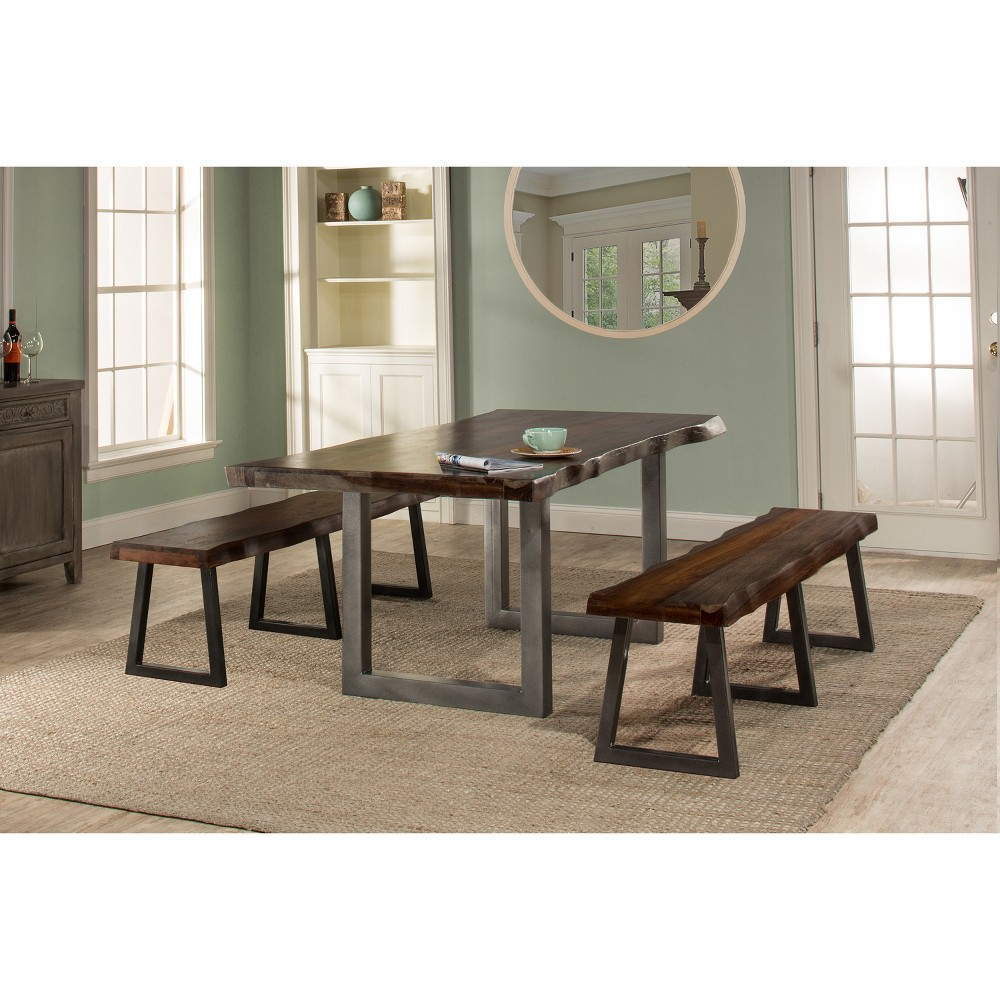 3pc Emerson Rectangle Dining Set with Two Benches Gray - Hillsdale Furniture