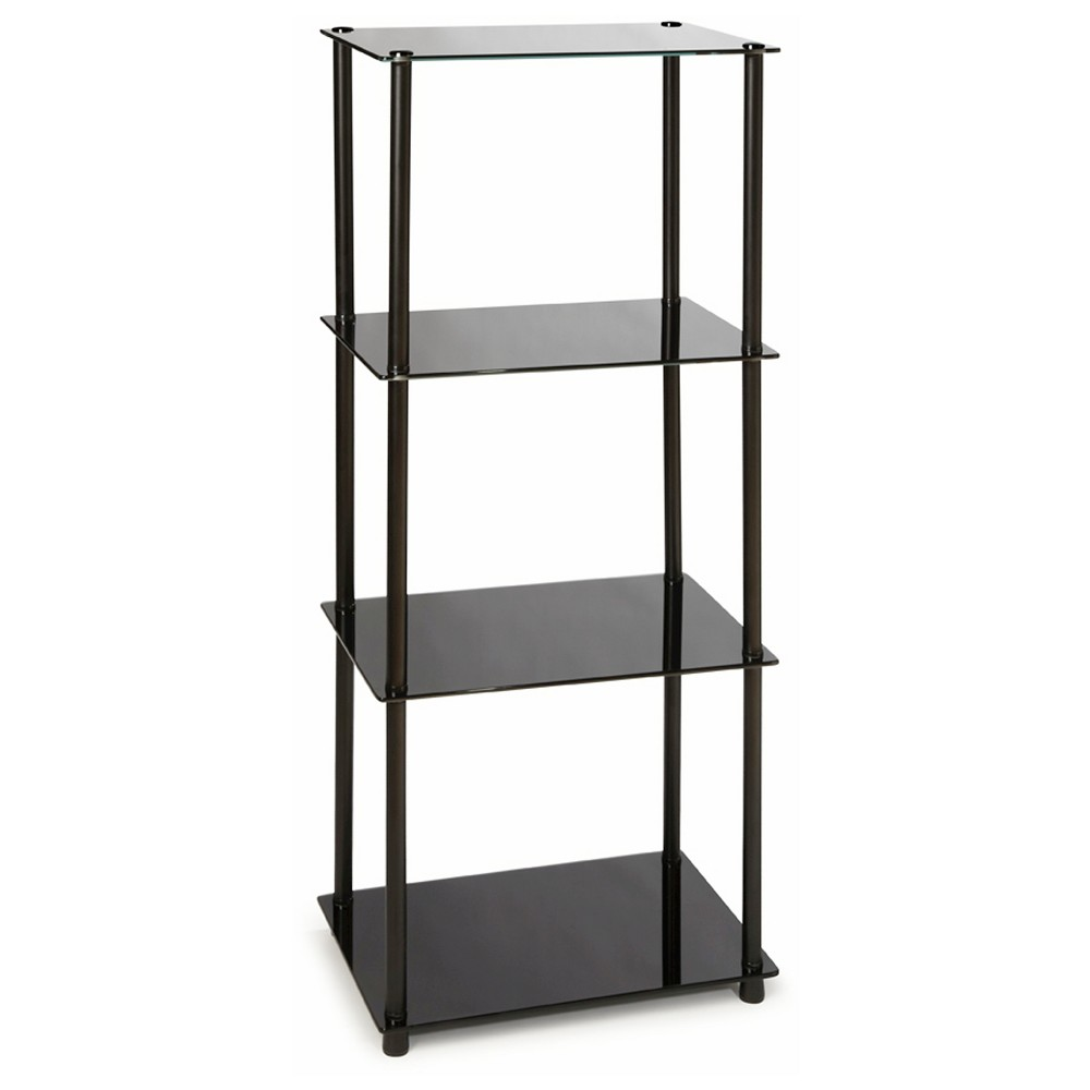 39 4 Tier Tower-Black Glass - Convenience Concepts, Black