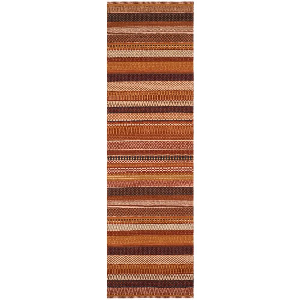 2'2X8' Stripe Woven Runner Rust (Red) - Safavieh