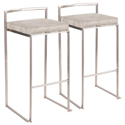 """Set of 2 30"""" Fuji Contemporary Stackable Barstools Stainless Steel - Lumisource"""