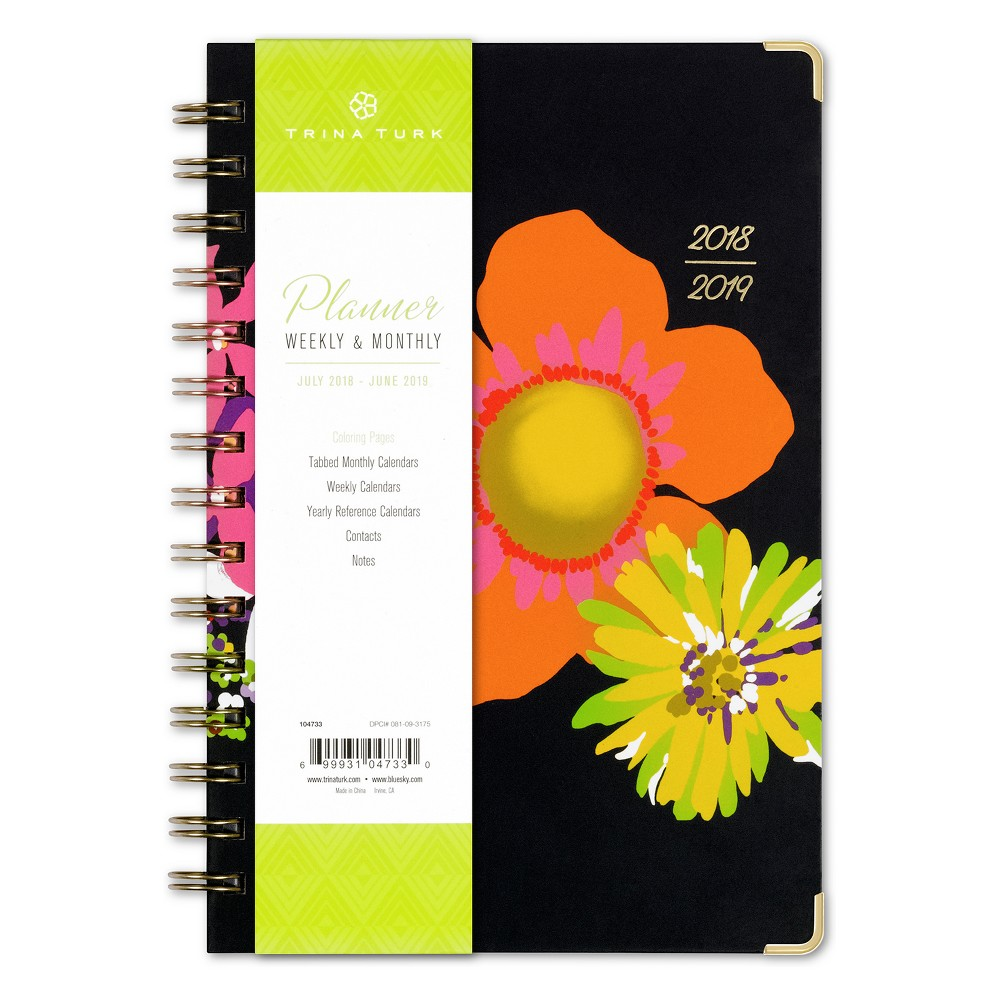 2018 Trina Turk Planner Printed Lgb 5x8 Weekly/Monthly Wire-bound - Bay Street Bloom, Multi-Colored