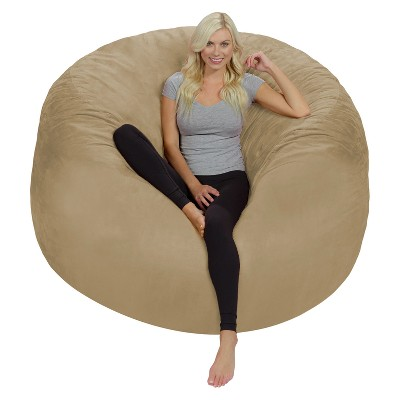 6' Huge Bean Bag Chair with Memory Foam Filling and Washable Cover Camel Brown - Relax Sacks