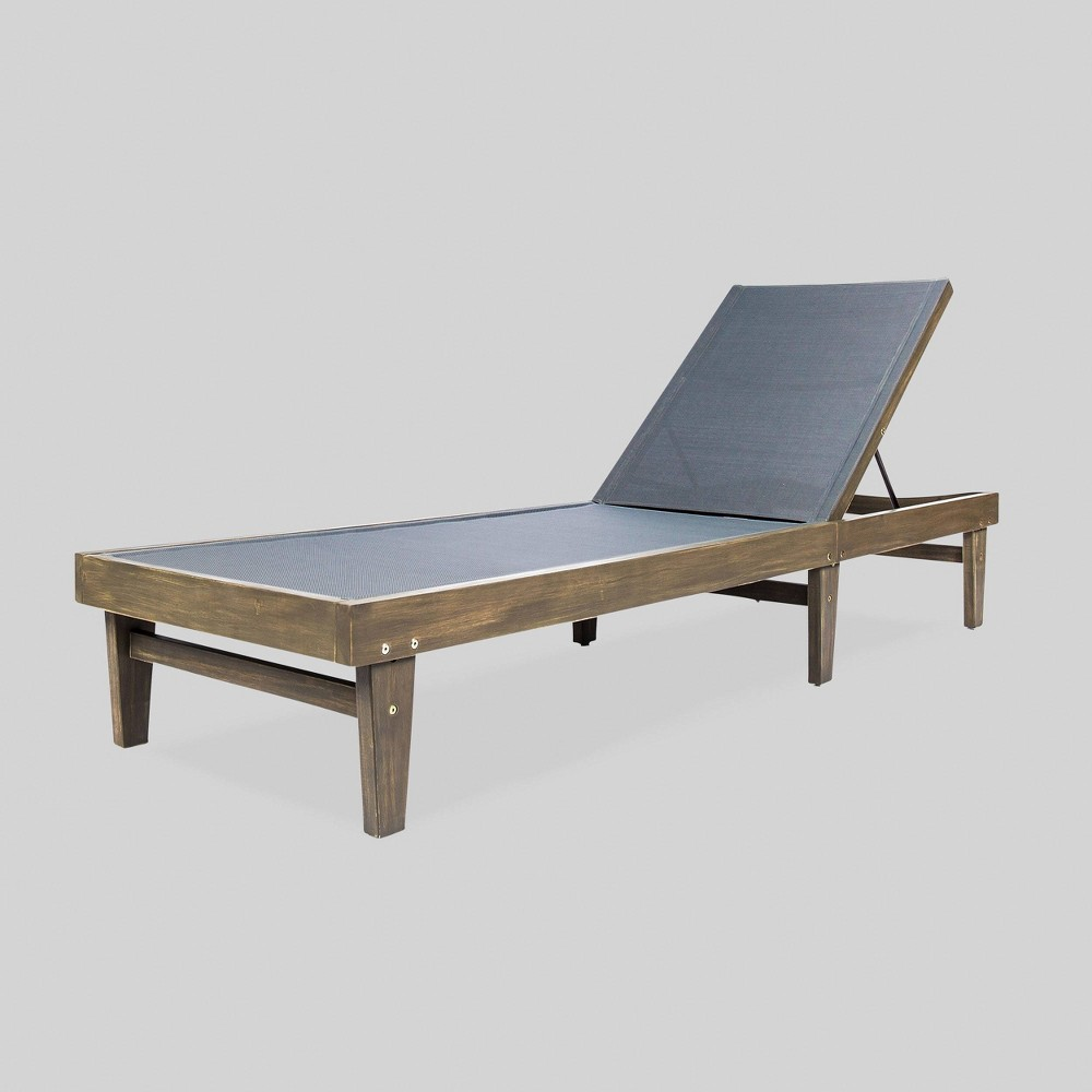 Summerland Wood and Mesh Chaise Lounge Gray/Dark Gray - Christopher Knight Home