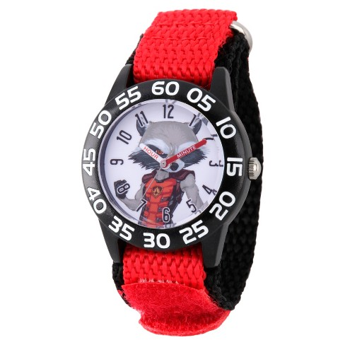 Boys' Marvel Guardians Of The Galaxy Evergreen Rocket Raccoon Plastic Time Teacher Watch - Red - image 1 of 2