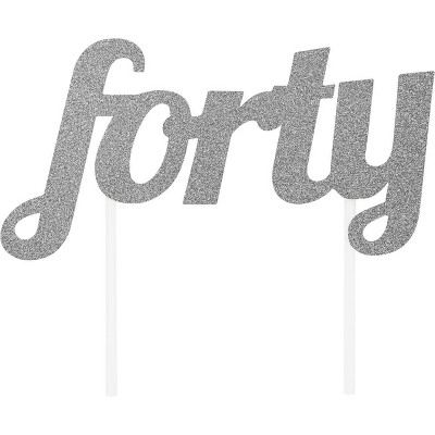 """Forty "" Cake Topper Silver Glitter"