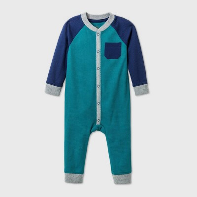 Baby Boys' Thermal Raglan Romper - Cat & Jack™ Green 6-9M