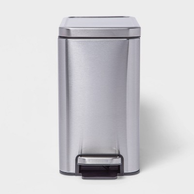 10L Slim Stainless Step Trash Can Silver - Made By Design™