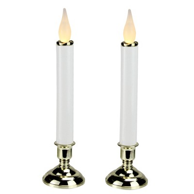 "Brite Star 2ct LED Christmas Candle Lamps with Base 9.75"" - White/Bronze"