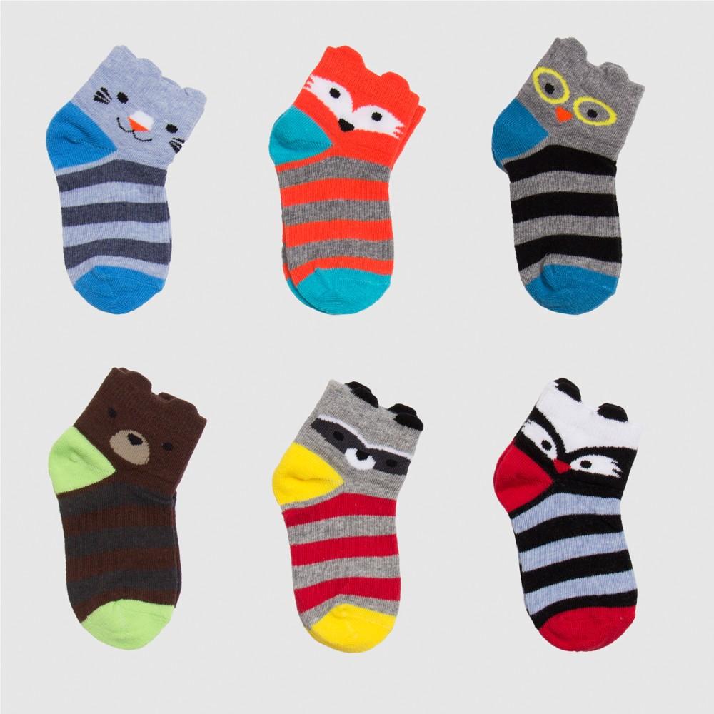 Toddler Boys' 6pk Critter Low Cut Dress Socks - Cat & Jack 4T-5T, Multicolored