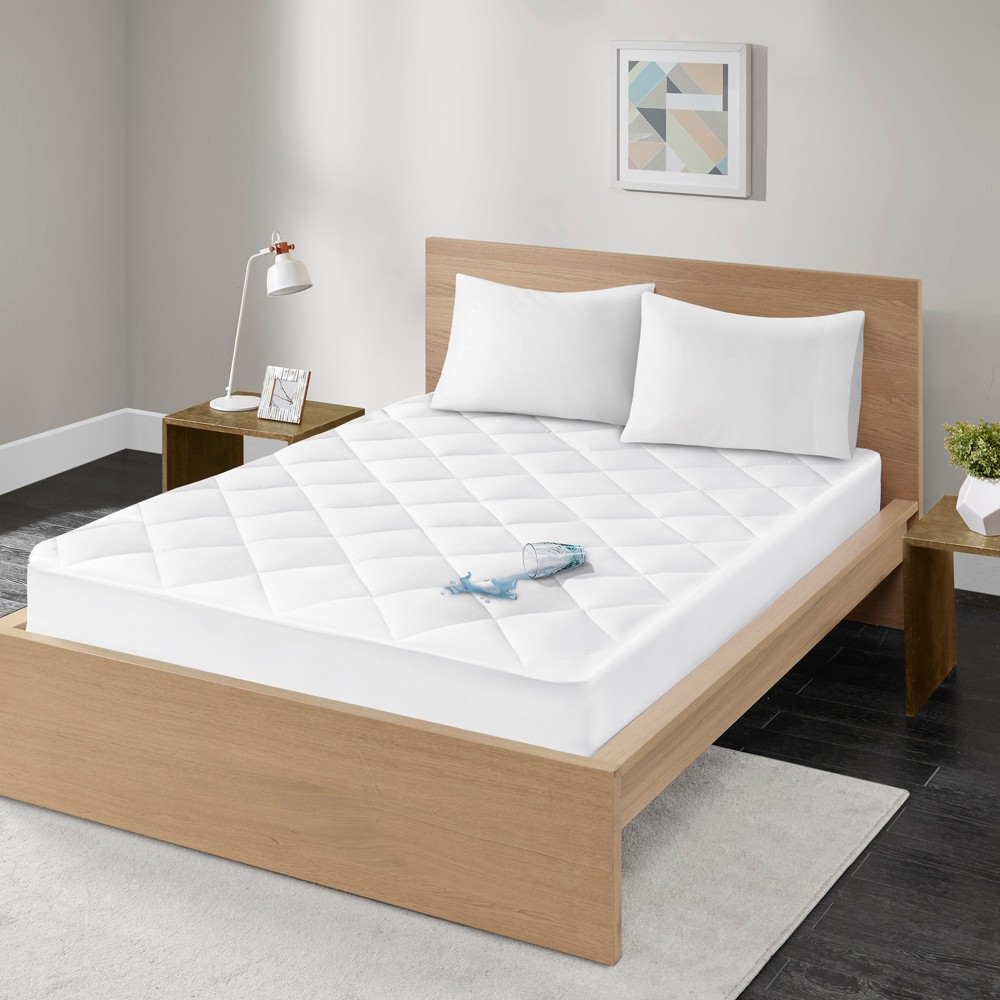 Ensure Waterproof 100 Cotton Sateen Quilted Down Alternative Mattress Pad Full White