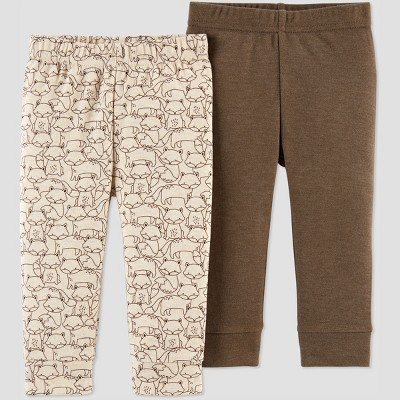 Baby Boys' 2pk Fox Pants - Just One You® made by carter's Brown Newborn